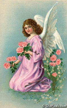Angel gathering flowers on Eastertide - a circa 1909 Victorian illustration.