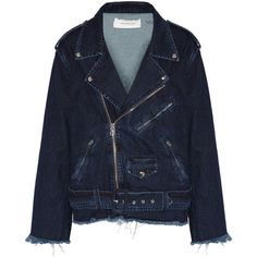 Marques' Almeida - Oversized Frayed Denim Biker Jacket ($338) ❤ liked on Polyvore featuring outerwear, jackets, dark denim, oversized jackets, asymmetrical zip jacket, dark blue jacket, moto jacket and dark denim jacket