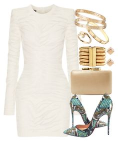 """Untitled #786"" by manoella-f on Polyvore featuring Balmain, Kayu, Christian Louboutin and Cartier"