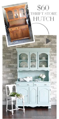 30 ideas refinishing furniture ideas hutch makeover thrift stores for 2019 Refurbished Furniture, Repurposed Furniture, Shabby Chic Furniture, Furniture Makeover, Diy Furniture Repurpose, Refurbished Hutch, Goodwill Furniture, Shabby Chic Desk, Dresser Makeovers