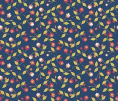 Flowers for Matisse on Blue fabric by inscribed_here on Spoonflower - custom fabric