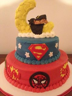 Superhero Baby Shower OMG the baby batman on top!!!