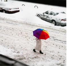 Photographs of rainbows in the snow