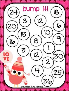 Have your students actively engaged and improving their automaticity with multiplication facts with this Valentine's Day themed BUMP game. 4 game boards included. $