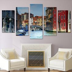 5 piece canvas art paintings Venice water city house HD print home decor wall decorations living room posters and prints ny-6207 #CityHouse