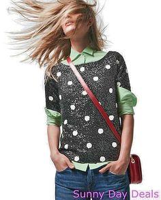 J.Crew Top Polka Dot Sequin 28614 Cotton Shirt Short Sleeve Tee Black Slim L  #JCrew #KnitTop #Versatile
