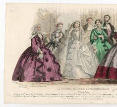 Fashion plate of wedding attire from 1858 from the digital collection of Fashion plates, 1790-1929; Costume Institute Fashion Plates, Metropolitan Museum of Art, New York. (b17509853) | #metmuseum #fashionplates #costumeinstitute #1858