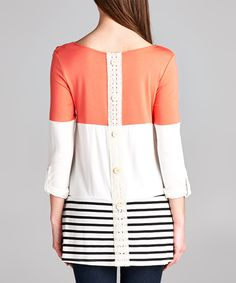 Look at this White & Coral Colorblock Three-Quarter Sleeve Top on #zulily today!