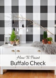 How To Paint Buffalo Check -add some drama to any space by painting buffalo check plaid to a feature wall, easy weekend DIY project.