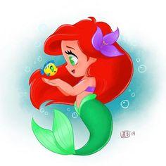 Young Ariel by Naoko Mullally Kawaii Disney, Ariel Disney, Disney Babys, Baby Disney, Disney Pixar, Cute Disney Drawings, Disney Princess Drawings, Cute Drawings, Drawing Faces