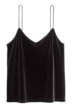 Welurowy top na ramiączkach - Czarny - ONA | H&M PL