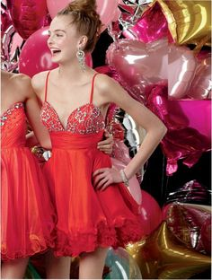 You're in for a treat with this silky chiffon and crystal organza baby doll dress. Spaghetti straps, V-neckline, ruched waistband, and delicate organza flower hemline tie the look together. Prom Dresses Atlanta, Cute Homecoming Dresses, Cheap Bridesmaid Dresses, Cheap Wedding Dress, Wedding Dresses, Graduation Dresses, Prom Gowns, Dress Prom, Bride Dresses