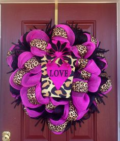 """""""For the Love of Cheetah"""" Valentine's Day Wreath Diy Valentines Day Wreath, Valentine Day Crafts, Love Valentines, Dollar Tree Decor, Leopard Room, Cheetah, Valentine's Day Diy, Deco Mesh Wreaths, Cute Crafts"""