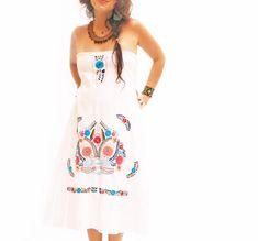 Gracia Mexican strapless embroidered dress from Aida Coronado