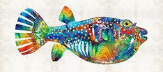 Fish Painting - Puffer Fish Art - Blow Puff - By Sharon Cummings by Sharon Cummings