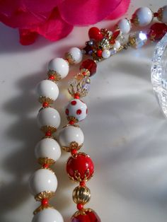 vintage Vendome Gorgeous 2strand necklace Red and by luvmetwice, $75.00