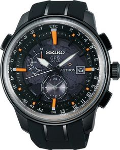 Seiko Men's Astron Black Watch (Black) Size: One Size Fits All Sport Watches, Cool Watches, Watches For Men, Citizen Watches, Wrist Watches, Skeleton Watches, Omega Seamaster, Seamaster Watch, Seiko Watches