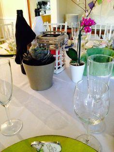 Centro de mesa:  Vela, Planta y orquidea