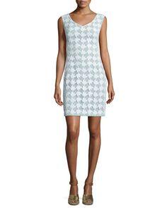TORY BURCH Tory Burch Brooklyn Sleeveless Lace Sheath Dress, White/Mint. #toryburch #cloth #
