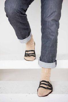 Mens Slipper Socks Mens Knit Slippers Tan Dark Brown Sandal Sock Mens House Slippers Mens Knit Socks Leather Straps (45.00 USD) by Nothingbutstring