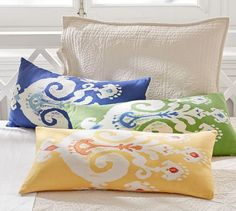 Sloane Ikat Pillow Cover | Pottery Barn      LUMBAR   YELLOW/GREEN/COLBALT                                 $25 EACH