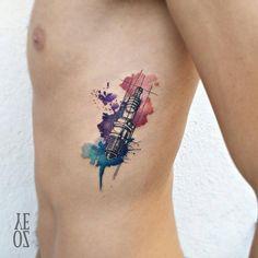 Watercolor spark plug tattoo by Yeliz Ozcan