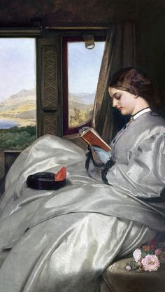 The Travelling Companions, 1862 (detail) by Augustus Leopold Egg, - English.Travelling Companions, an ambiguous image of two near-identical young women that has sometimes been interpreted as an attempt to represent two sides of the same person.