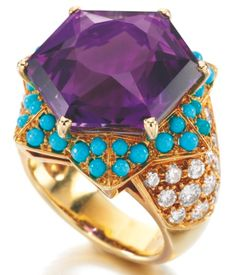The Duchess of Windsor's iconic amethyst, turquoise and diamond ring, made in 1947 by Cartier.