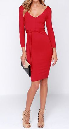 Cocktails and Dreams Red Midi Dress