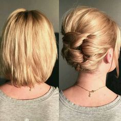 Most Attractive Short Hairdos for Parties - Love this Hair hair frisuren, Most Attractive Short Hairdos for Parties Braids For Short Hair, Cute Hairstyles For Short Hair, Short Hair Cuts, Braided Hairstyles, Prom Hairstyles, Hairstyle Ideas, Hairstyle Pictures, Simple Updo Short Hair, Short Hair Updos Tutorial