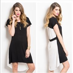 High Low Dress Black and white high low dress or could be worn as a top. Back is slightly sheer and front is t-shirt material and is very comfortable. LAST ONE! Boutique Dresses High Low