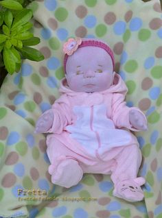 """CHRISTMAS SALE. Fretta's Sleepyhead Baby Girl 18"""" / 46 cm. Bald / Closed Eyes. Soft Sculptured Jointed Baby, Child Safe Cloth Doll"""