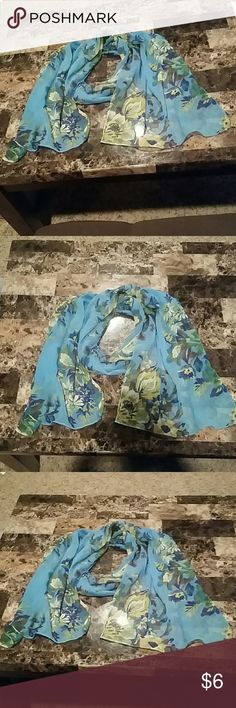 Semi sheer blue floral scarf. Semi sheer blue floral scarf. See pictures. Just looking to reduce my scarf collection. Accessories Scarves & Wraps