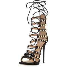 Giuseppe Zanotti Coline Strappy Lace-Up 110mm Sandal (8.355 RON) ❤ liked on Polyvore featuring shoes, sandals, heels, black, black strappy shoes, strappy lace up sandals, black shoes, black strap sandals and studded sandals