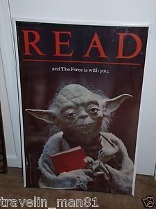 "Vintage 1983 Yoda Star Wars ""READ"" Campaign Poster ROTJ Empire Strikes Back"