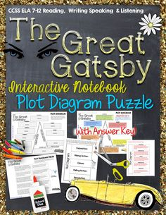 The Great Gatsby: Interactive Notebook Plot Diagram Puzzle ($)