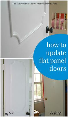 Plain flat door into a stylish paneled door -- pretty easy and inexpensive way to update a door! Country Furniture, Diy Furniture, Indoor Doors, Painted Drawers, Home Fix, Idee Diy, Door Makeover, Home Upgrades, Reno