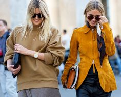 Stylish friends: over sized sweater, suede jacket, chic sunglasses