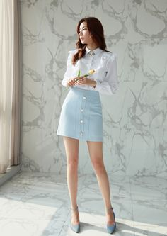 Korean Women`s Fashion Shopping Mall, Styleonme. Korean Fashion Minimal, Asian Fashion, Cute Skirts, Mini Skirts, Skirt And Top Set, Poses References, Office Fashion, Sexy Asian Girls, Korean Women