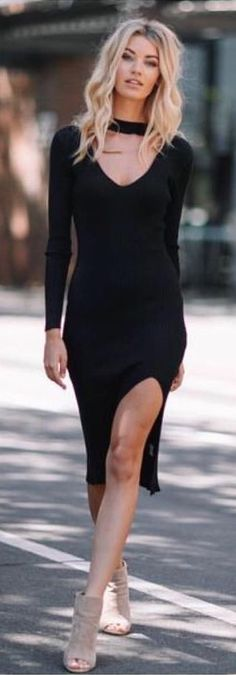 #spring #outfits Black BECKY Dress + Grey Open Toe Booties