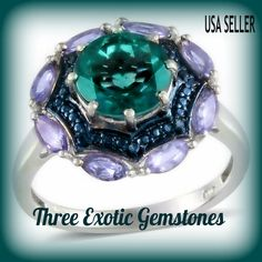 Teal Fluorite Sterling Silver Ring TGW 2.10 cts.