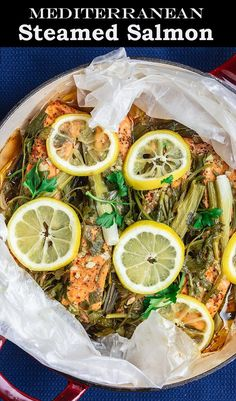 BEST steamed salmon recipe ever! Perfectly tender, moist salmon w/ loads of Mediterranean flavors from garlic, lemon and fresh herbs. Ready in 25 minutes! Recipe comes with step-by-step tutorial Steamed Salmon Recipes, Fish Recipes, Seafood Recipes, Mediterranean Diet Recipes, Mediterranean Dishes, Mediterranean Style, Healthy Dinner Recipes, Cooking Recipes, Healthy Dinners