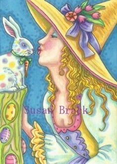 SOME EASTER MAGIC - I always have fun mixing my holidays.  This lovely spring witch has kisses for her Easter Bunny.  Susan Brack Original Fantasy Halloween Art Illustration ACEO EHAG EBSQ
