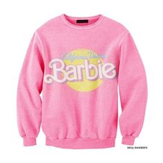 California Dream Barbie Sweatshirt I'D WEAR THIS ❤ liked on Polyvore featuring tops, sweaters and pink top