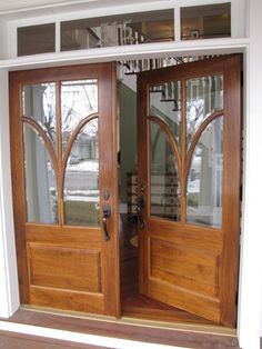 Double front doors wood--new home built with old-house details in NJ