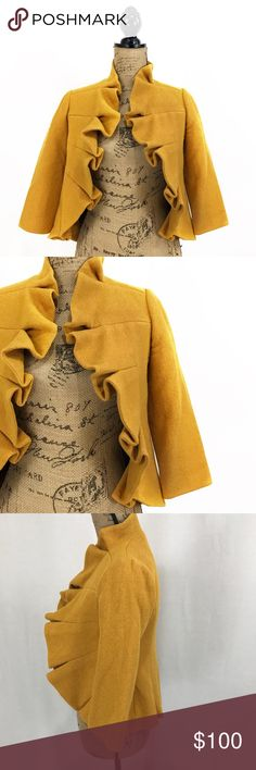 """Anthropologie Tabitha Mustard ruffle jacket NWOT - purchased from anthropologie my self. (Please note this is a guest brand-Not anthro RN-not a house brand) size 2. Materials are pictured. Measurements are taken with the garment laying flat, unstretched, in inches not doubled and are approximate. Bust-17"""" length-18.5"""" sleeve length- 17 Anthropologie Jackets & Coats"""