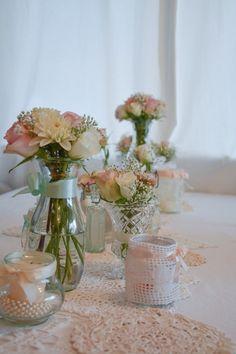 Hochzeitsdeko - Vintage Windlicht, Teelicht-Glas mit Spitze - ein Designerstück von Lovely-Vintage-Deko bei DaWanda