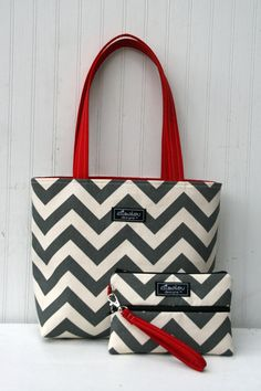 MaryBeth Bag Tote in Gray Chevron by ElisaLou on Etsy, $55.00