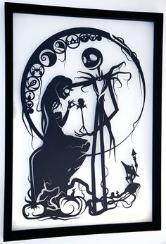 Jack Skellington and Sally - Nightmare Before Christmas silhouette handcut paper craft