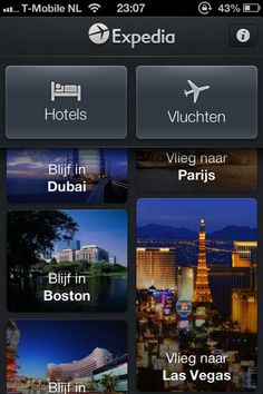 Expedia | iPhone | Hotel booking app | Expedia features a nice parallax sort-off scrolling; Scrolling the left or right section vertically causes to bar on the opposite side to scroll along with it, but slower or faster (depending which side you scroll)